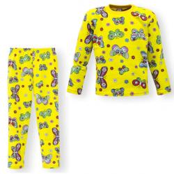 """44-6982567 """"Бабочки"""" пижама для девочек 6-9 лет, двухнитка, жёлтый"""
