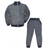"""44-25814 """"СПОРТ"""" костюм с курткой на молнии 2-5 лет, пике, темно-серый"""