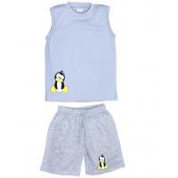 """11-142101 """"Пингвинчик"""" комплект летний для мальчика, 1-4 года, серый"""