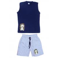 """11-142102 """"Ежонок"""" комплект летний для мальчика, 1-4 года, темно-синий"""