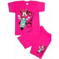 10-582109 Комплект футболка-шорты, 5-8 лет, малиновый