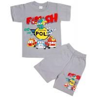 10-582112 Комплект футболка-шорты, 5-8 лет, серый