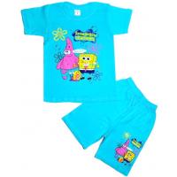 10-582113 Комплект футболка-шорты, 5-8 лет, бирюза