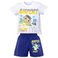 """1421-76 """"AIRPORT"""" комплект для мальчика, 1-4 года, белый\синий"""