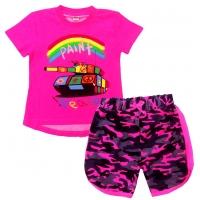 """5822-56 """"Peace"""" комплект туника-шорты, ярко-розовый 5-8 лет"""