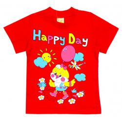 """1402-11 """"Happy Day"""" Футболка для девочек, 1-4 года, красный"""