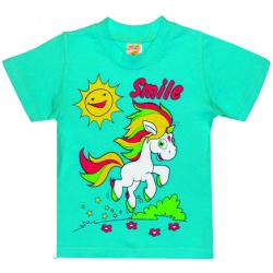 """1402-12 """"Smile"""" Футболка для девочек, 1-4 года, мята"""