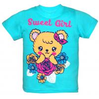 "15-140213 ""SWEET GIRL"" Футболка, 1-4 года, бирюза"