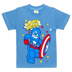 "1401-14 ""Capitain America"" Футболка для мальчиков, 1-4 года, голубой"