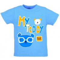 """1401-36 """"My Teddy"""" Футболка для мальчиков, 1-4 года, голубой"""