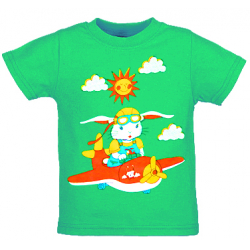 """1401-38 """"Летчик"""" Футболка для мальчиков, 1-4 года, зеленый"""