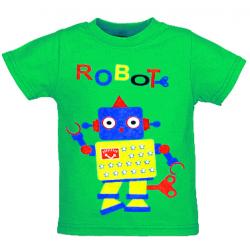 """1401-39 """"ROBOT"""" Футболка для мальчиков, 1-4 года, зеленый"""