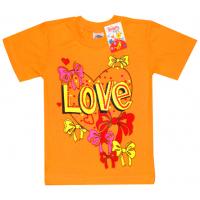 """2502-04 """"LOVE"""" футболка для девочек, 2-5 лет, морковный"""