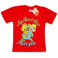 """2502-05 """"Sweet Bear"""" футболка для девочек, 2-5 лет, красный"""