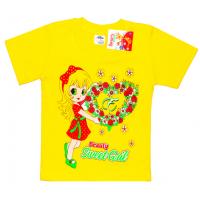"""2502-09 """"Sweet Girl"""" футболка для девочек, 2-5 лет, желтый"""
