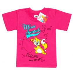 """2602-10 """"CAT футболка для девочек, 2-6 лет, малиновый"""