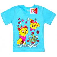 """2502-11 """"Друзья"""" футболка для девочек, 2-5 лет, бирюза"""