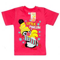 "2502-12 ""Little Pinguin"" футболка для девочек, 2-5 лет, коралл"