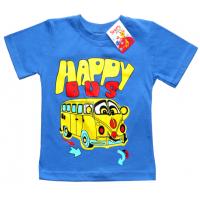 """2501-03 """"HAPPY BUS"""" футболка для мальчиков 2-5 лет, голубой"""