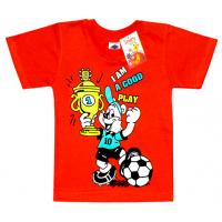 "2501-17 ""A am a Good Play"" футболка для мальчиков 2-5 лет, коралл"