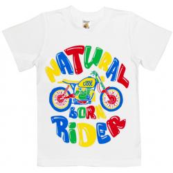 """4801-039 """"Natural Born Rider"""" Футболка для мальчиков, 4-8 лет, белый"""