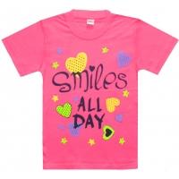 "5802-10 ""Smiles all Day"" футболка для девочек 5-8 лет"