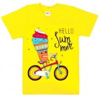 """5802-6 """"Hello Summer"""" футболка для девочек 5-8 лет"""