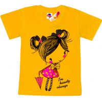"""5902-024 """"I Am Beauty"""" футболка для девочек, 5-9 лет, оранжевый"""