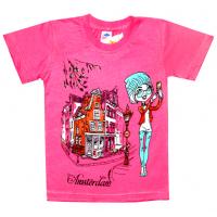 """5902-026 """"Amsterdam"""" футболка для девочек, 5-9 лет, розовый"""