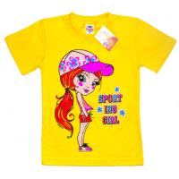 """5902-034 """"Sport"""" футболка для девочек, 5-9 лет, желтый"""