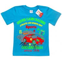 "5901-029 ""Super Cars"" футболка для мальчика, 5-9 лет, бирюза"