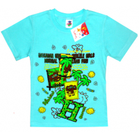 """5901-033 """"Джунгли"""" футболка , 5-9 лет, бирюза"""