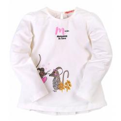 "B-3051 ""Мышки"" Лонгслив для девочки, молочный"