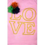 """B-3756 """"LOVE"""" Лонгслив для девочки,  3-7, розовый"""