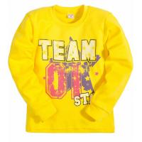 "5812-01 ""Team"" Джемпер для девочек, интерлок, 5-8 лет, желтый"