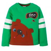 """1411-23 """"Bear"""" Джемпер для мальчика, интерлок,1-4 года, зеленый"""