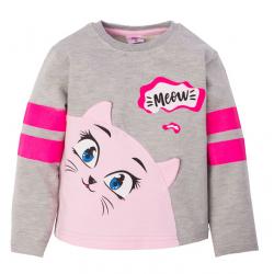 "1412-21 ""Meow"" Джемпер для девочки, интерлок,1-4 года, серый"
