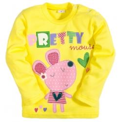 """2512-4 """"Pretty Mouse"""" кофта для девочек, интерлок, 2-5 лет, желтый"""