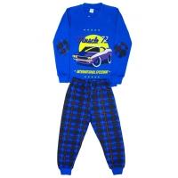 """5881-4 """"Muscle72"""" Пижама для мальчиков, 5-8 лет, синий\клетка"""