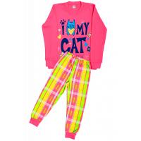 """5882-13 """"My Cat"""" Комплект домашний для девочек, 5-8 лет, персиковый\клетка"""