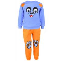 """1481-25 """"Веселые мордашки"""" Комплект домашний для мальчика, 1-4 года, голубой\оранжевый"""