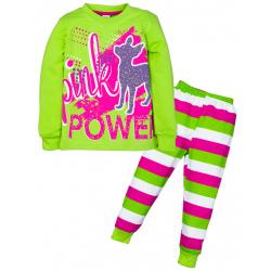 "3782-023 ""Pink Power"" Пижама , 3-7 лет, интерлок, салатовый"