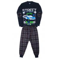"""5881-7 """"Street Race"""" Пижама для мальчиков, 5-8 лет, темно-синий\клетка"""