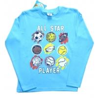 """All Star"" Лонгслив, интерлок, 5-8 лет"