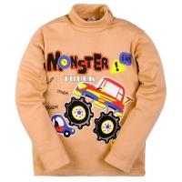 """2561-2 """"Monster"""" водолазка для мальчиков 2-5 лет, интерлок, кофейный"""