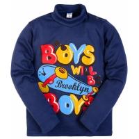 """2561-4 """"Boys"""" водолазка для мальчиков 2-5 лет, интерлок, синий"""