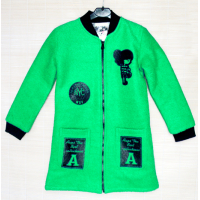 40-71208 Пальто демисезонное из буклированной шерсти 7-12 лет, изумрудный