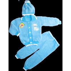 ET-605m Комплект тройка для мальчика, букле, 98\104 рыбка, голубой