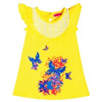 """11-25831 """"Бабочки"""" Платье-туника, 2-5 лет, желтый"""