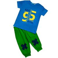 """11-372177 """"95"""" Комплект с бриджами, 3-7 лет, синий\зеленый"""